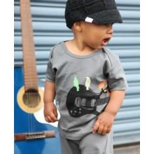 Gray Guitar Birds Knit Tee