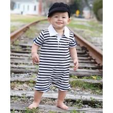 Mini-man Stripe Polo Romper