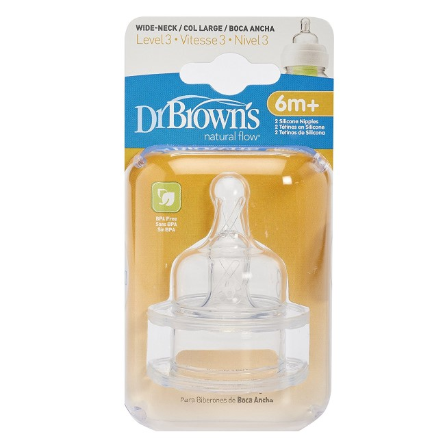 Dr Browns Wide Neck Teats Silicon Level 1